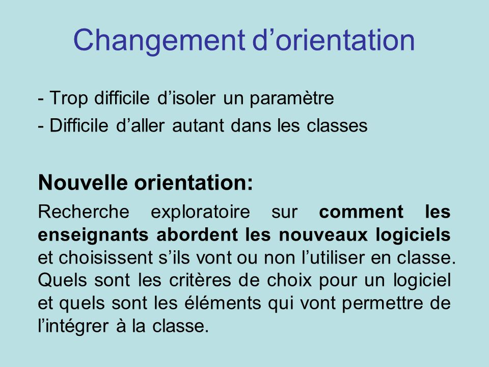 Changement d'orientation