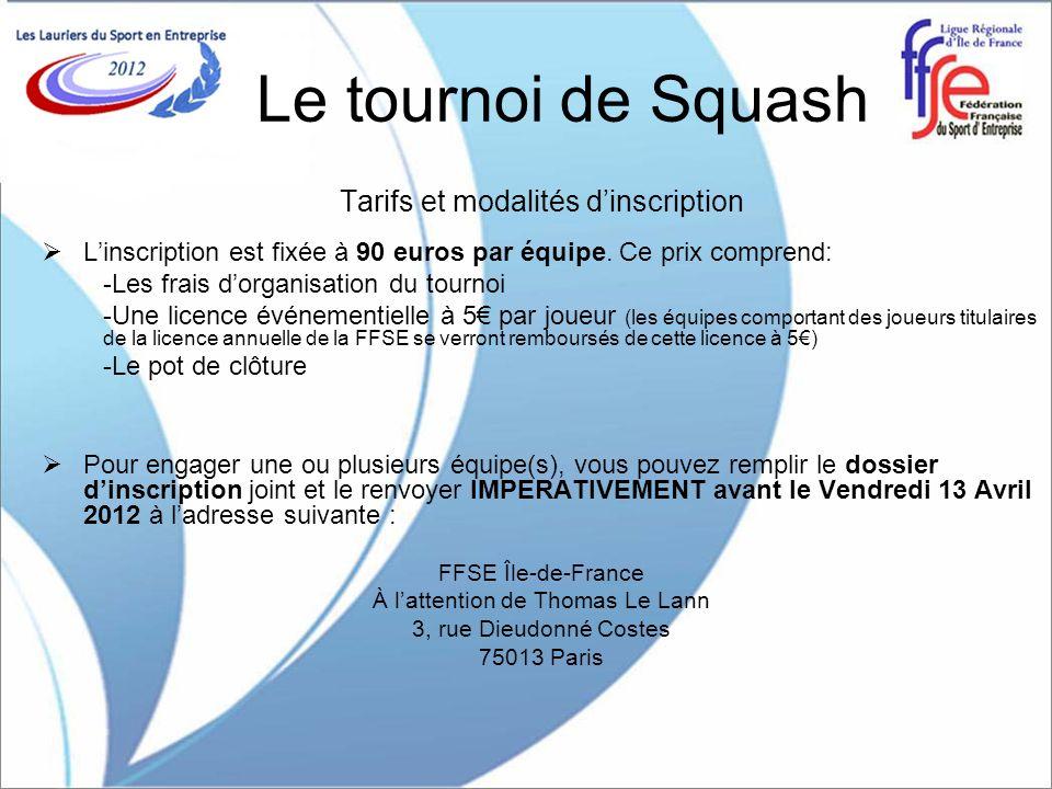Le tournoi de Squash Tarifs et modalités d'inscription