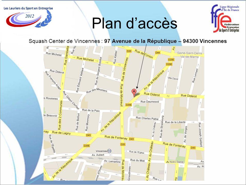 Plan d'accès Squash Center de Vincennes : 97 Avenue de la République – 94300 Vincennes