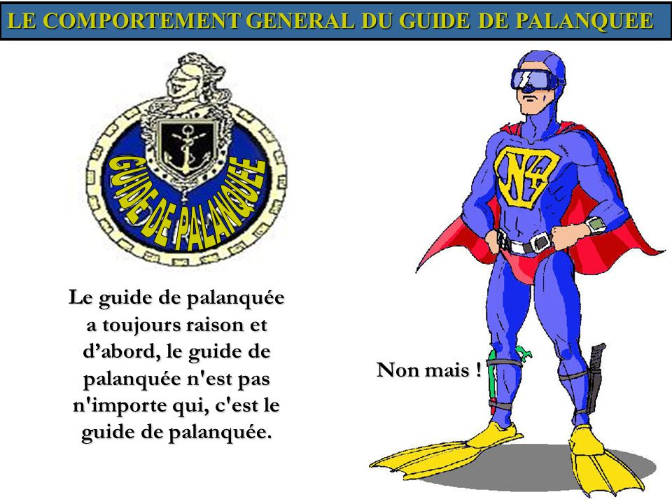 GUIDE DE PALANQUEE LE COMPORTEMENT GENERAL DU GUIDE DE PALANQUEE
