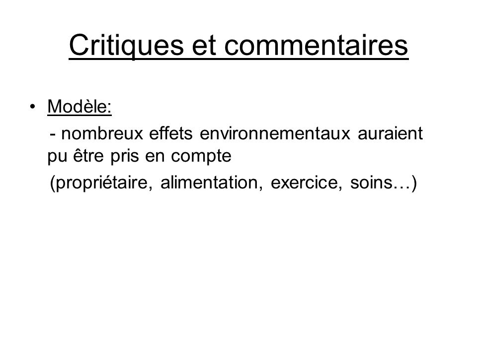 Critiques et commentaires
