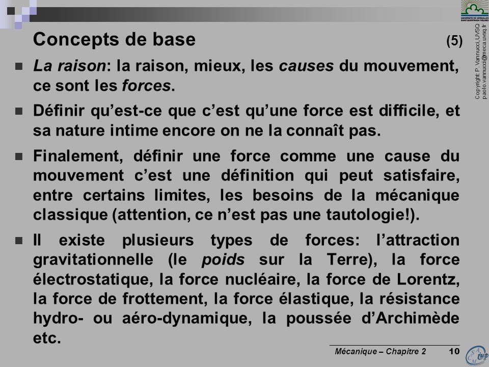 Concepts de base (5) La raison: la raison, mieux, les causes du mouvement, ce sont les forces.