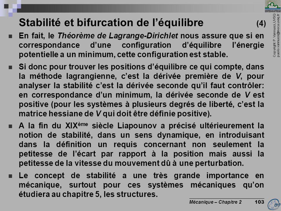 Stabilité et bifurcation de l'équilibre (4)