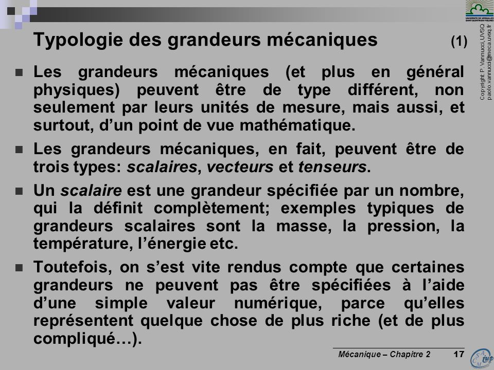 Typologie des grandeurs mécaniques (1)