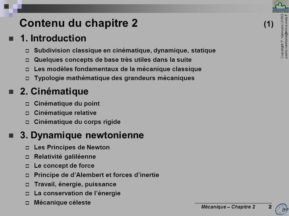 Contenu du chapitre 2 (1) 1. Introduction 2. Cinématique
