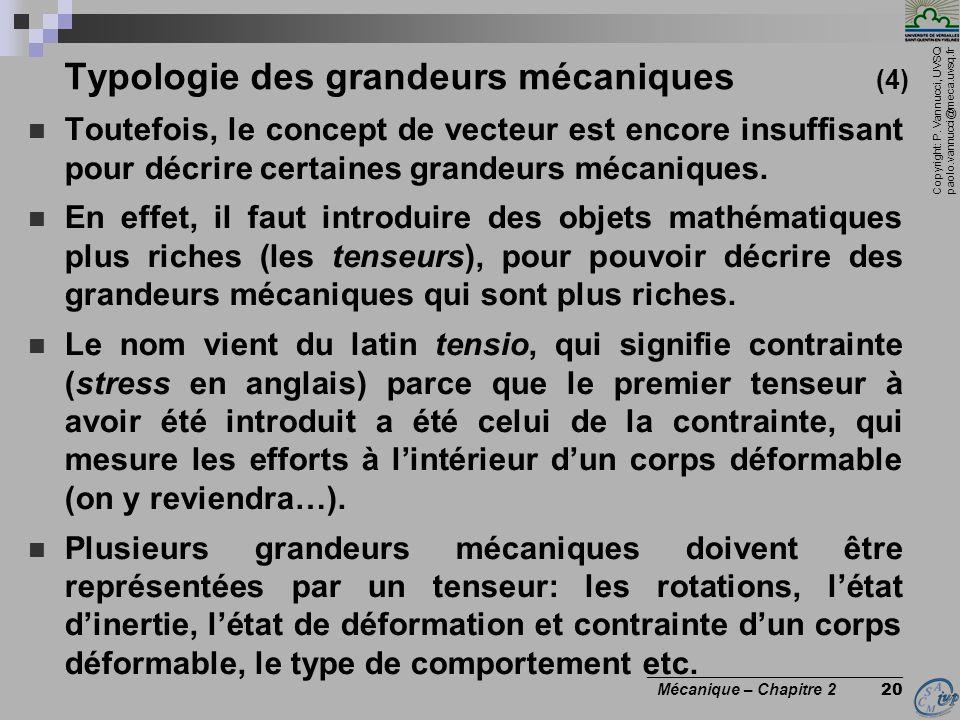 Typologie des grandeurs mécaniques (4)