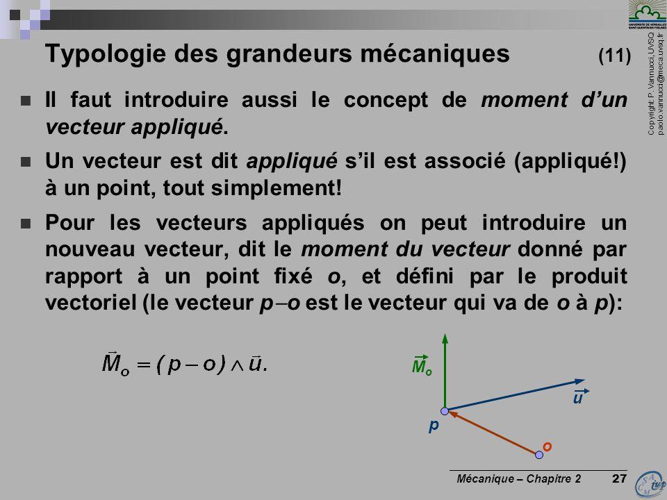 Typologie des grandeurs mécaniques (11)