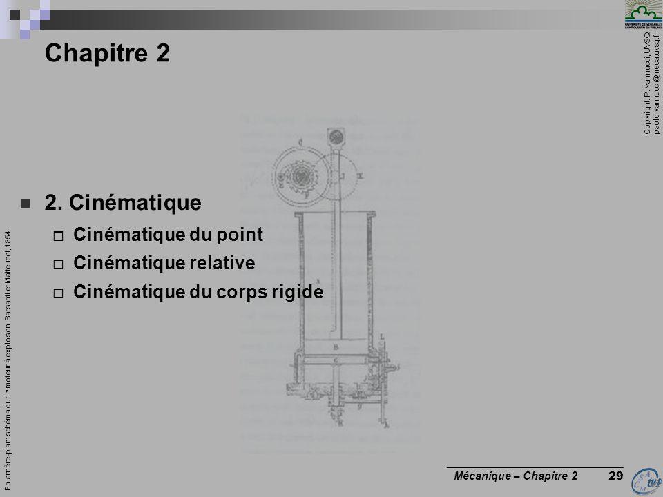 Chapitre 2 2. Cinématique Cinématique du point Cinématique relative