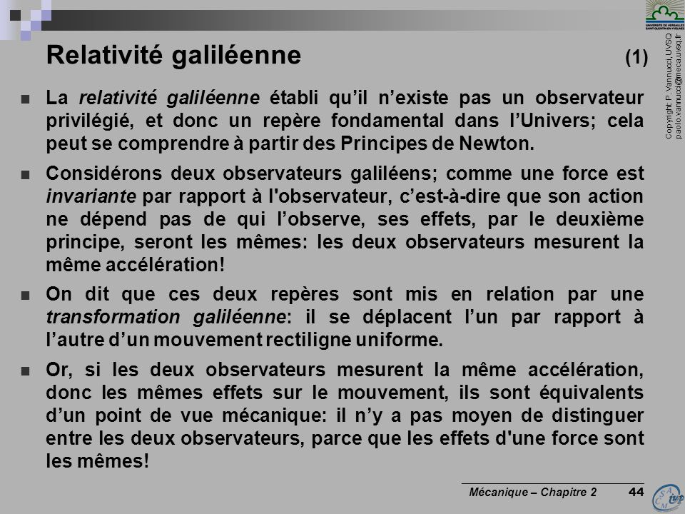 Relativité galiléenne (1)