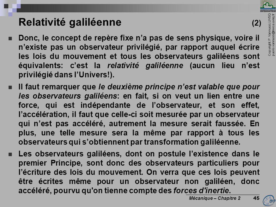 Relativité galiléenne (2)