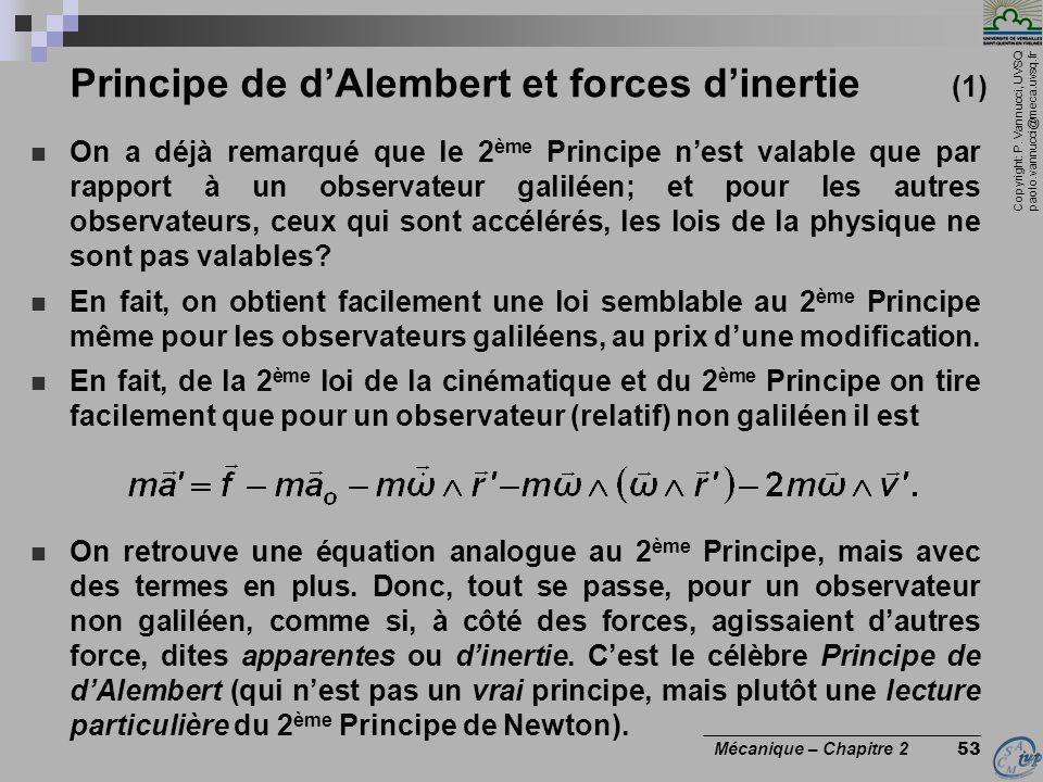 Principe de d'Alembert et forces d'inertie (1)