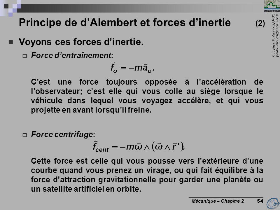Principe de d'Alembert et forces d'inertie (2)