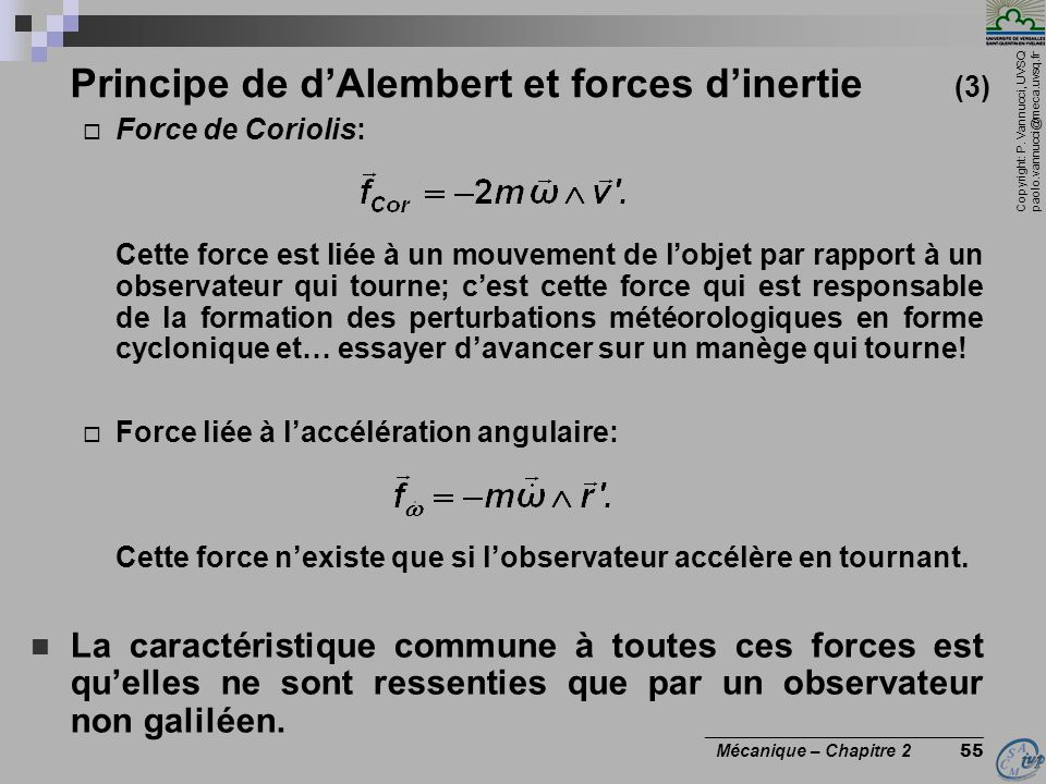 Principe de d'Alembert et forces d'inertie (3)