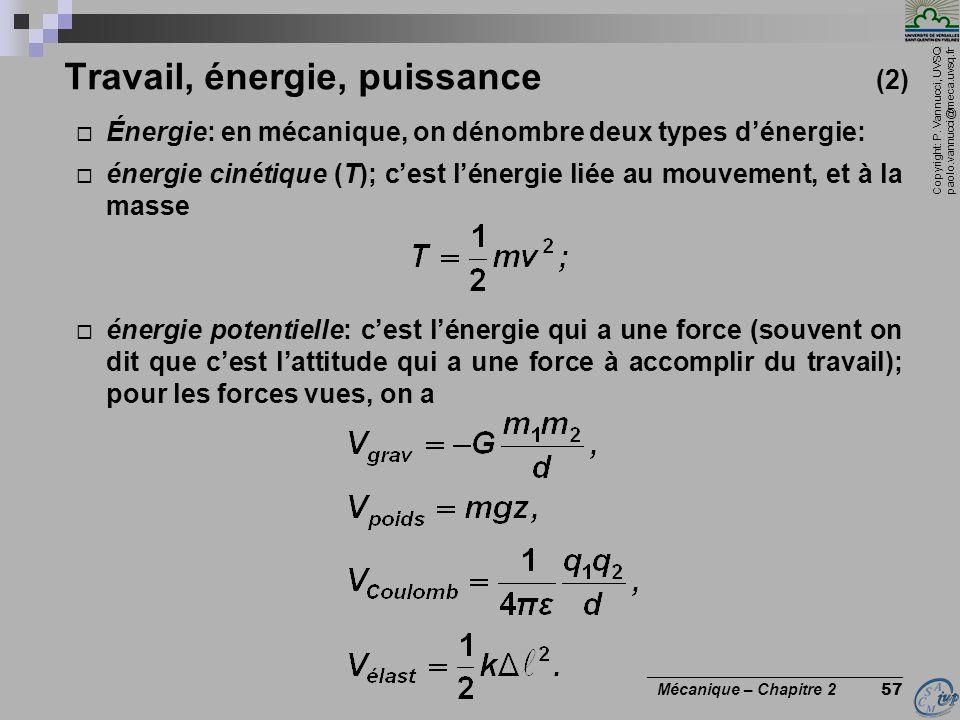 Travail, énergie, puissance (2)