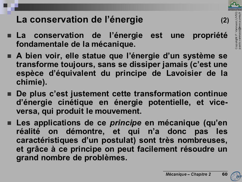 La conservation de l'énergie (2)