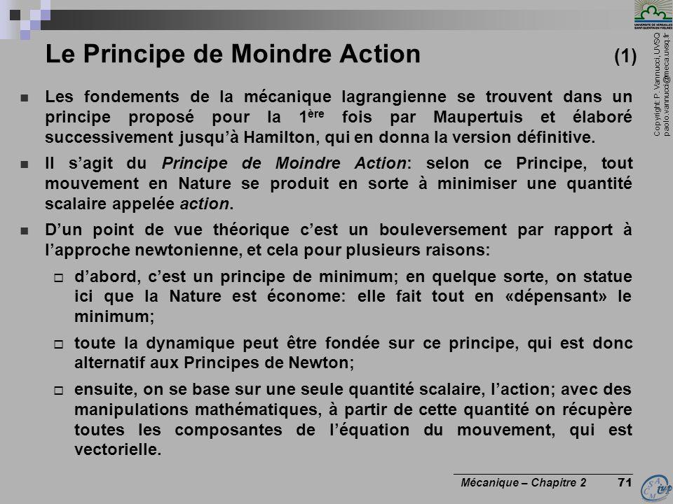 Le Principe de Moindre Action (1)