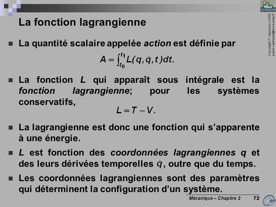 La fonction lagrangienne