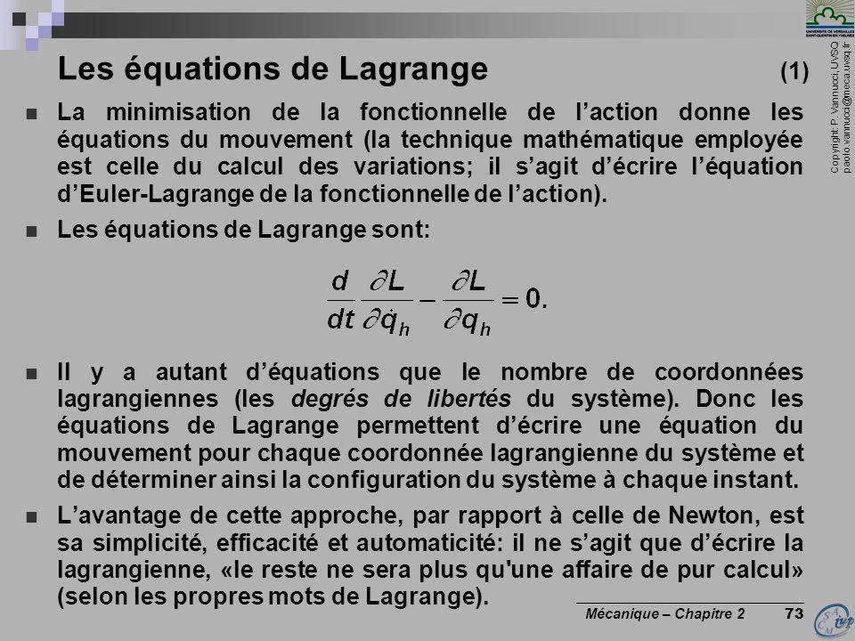 Les équations de Lagrange (1)