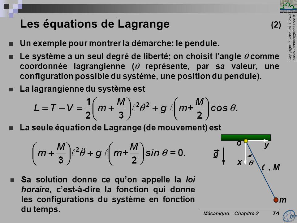 Les équations de Lagrange (2)