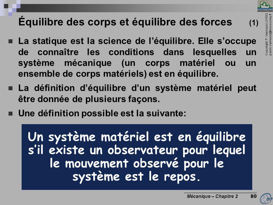 Équilibre des corps et équilibre des forces (1)