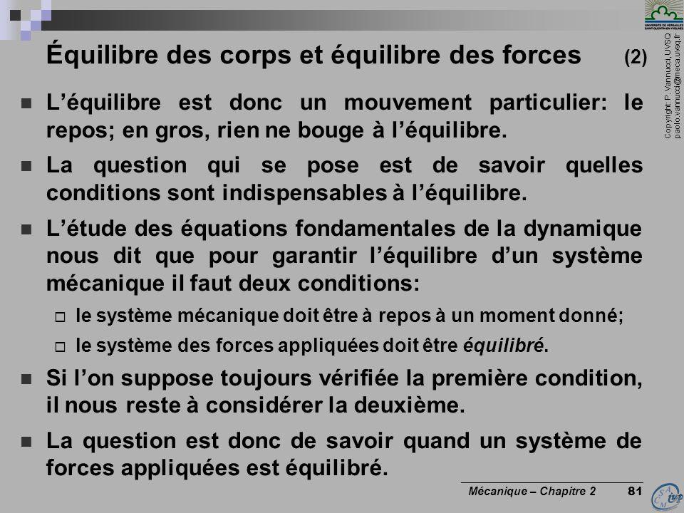Équilibre des corps et équilibre des forces (2)