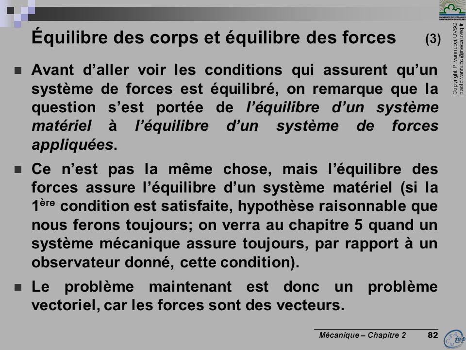 Équilibre des corps et équilibre des forces (3)