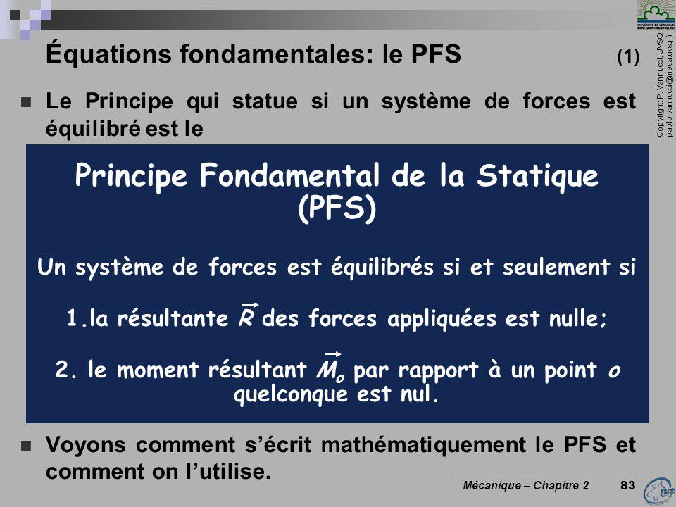 Équations fondamentales: le PFS (1)