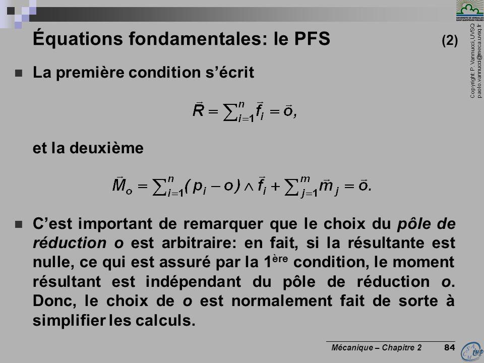 Équations fondamentales: le PFS (2)