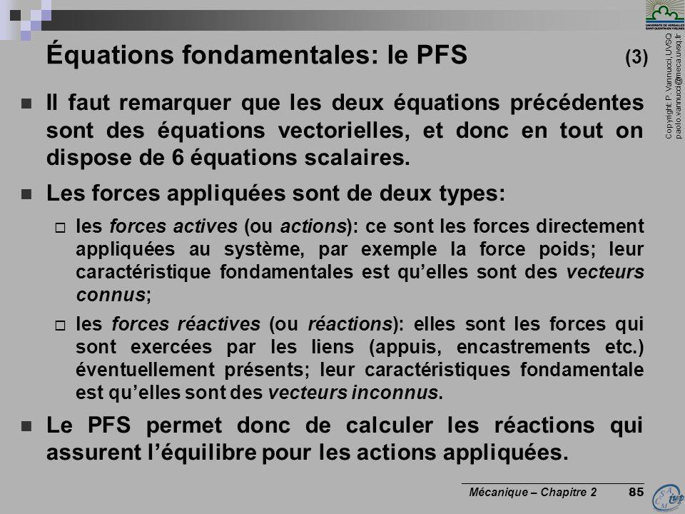 Équations fondamentales: le PFS (3)