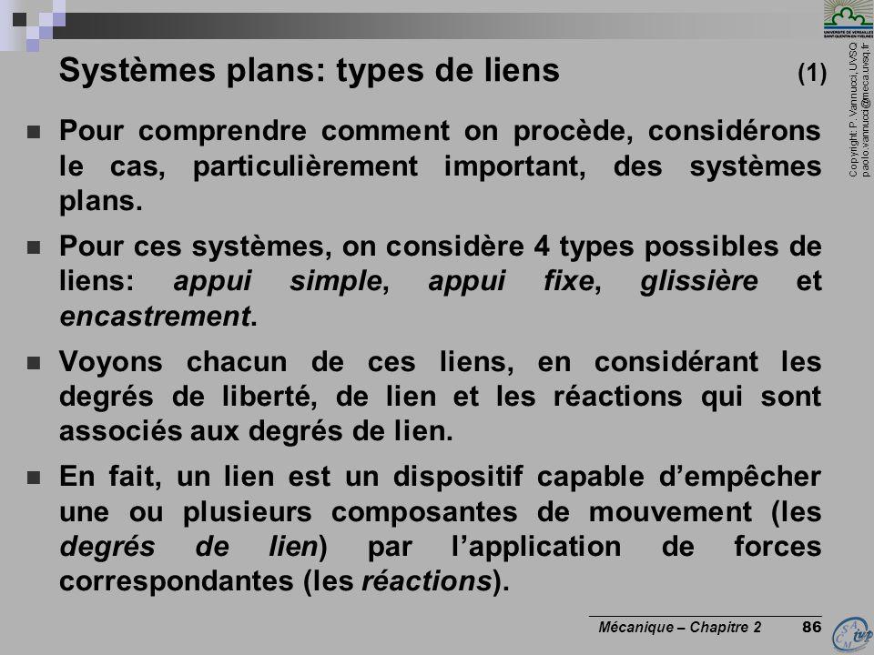 Systèmes plans: types de liens (1)
