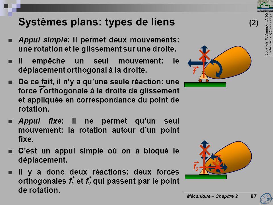Systèmes plans: types de liens (2)
