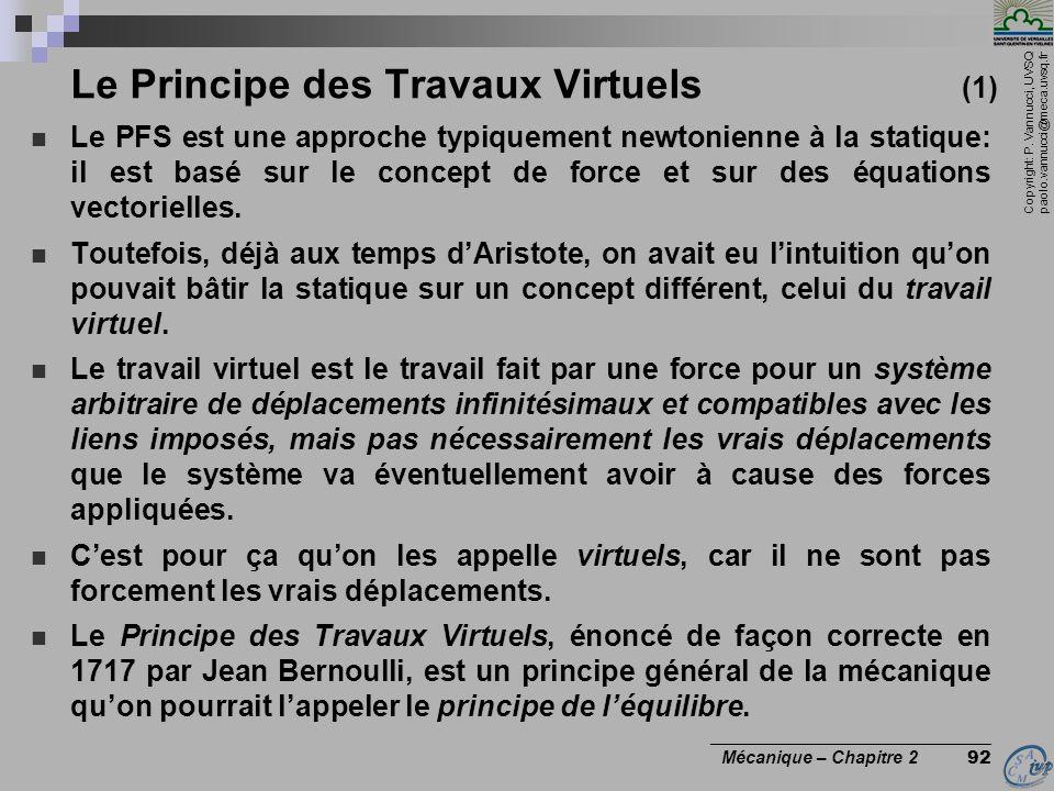 Le Principe des Travaux Virtuels (1)
