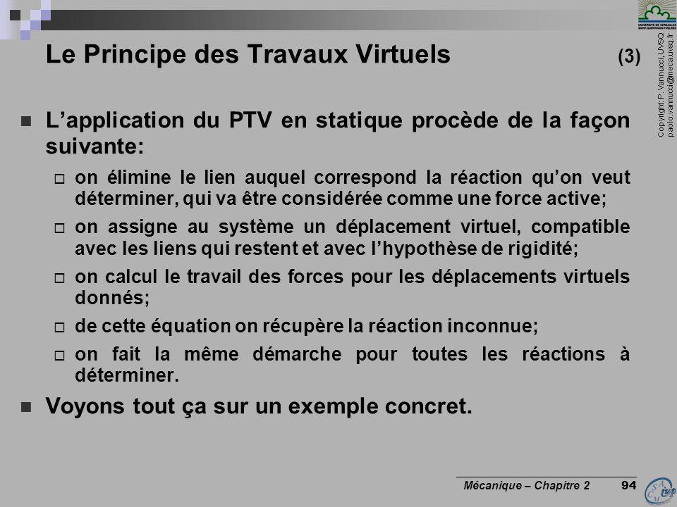 Le Principe des Travaux Virtuels (3)
