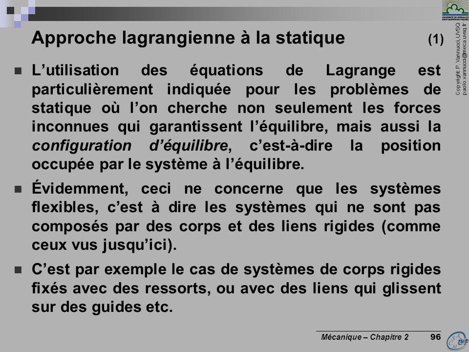 Approche lagrangienne à la statique (1)