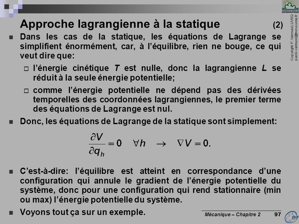 Approche lagrangienne à la statique (2)