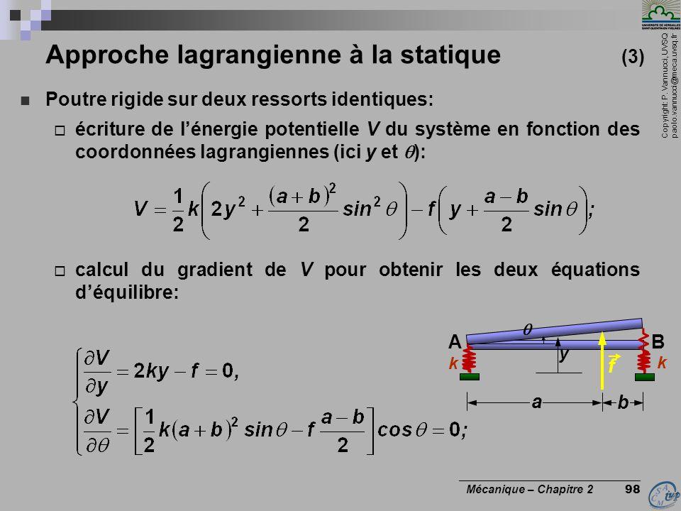 Approche lagrangienne à la statique (3)