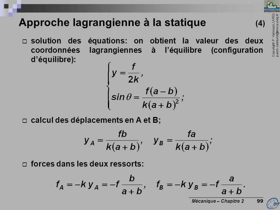Approche lagrangienne à la statique (4)