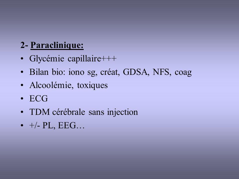 2- Paraclinique: Glycémie capillaire+++ Bilan bio: iono sg, créat, GDSA, NFS, coag. Alcoolémie, toxiques.