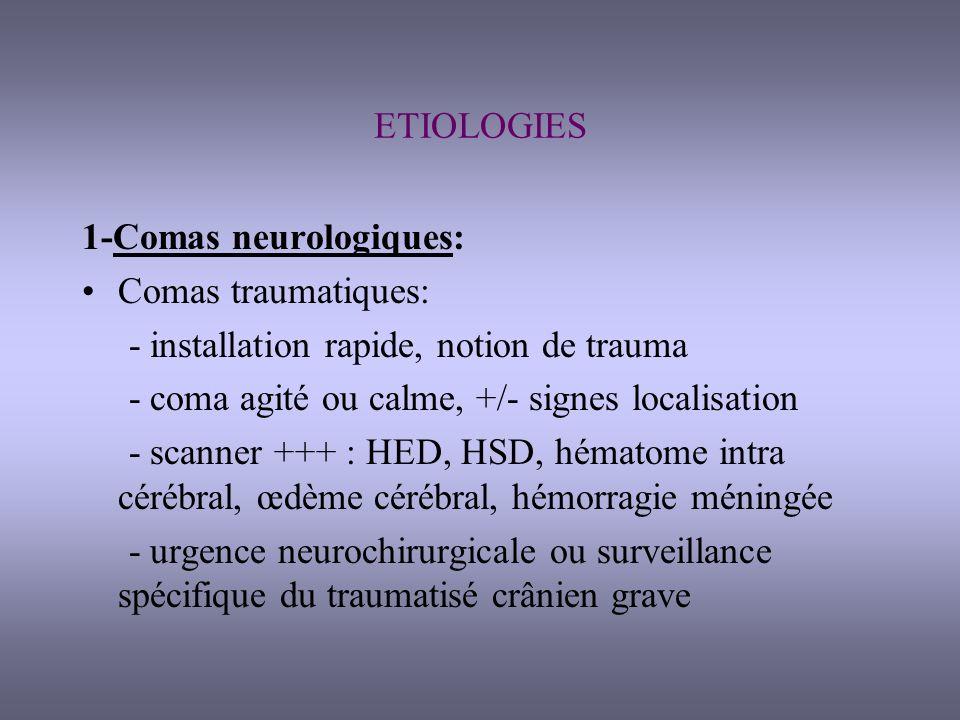 ETIOLOGIES 1-Comas neurologiques: Comas traumatiques: - installation rapide, notion de trauma. - coma agité ou calme, +/- signes localisation.