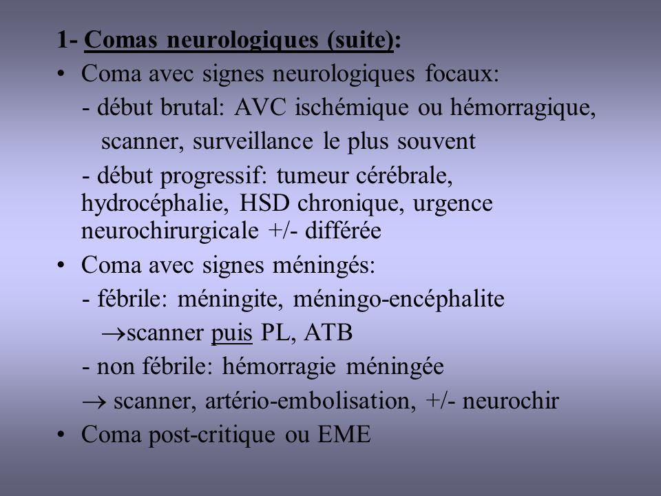 1- Comas neurologiques (suite):