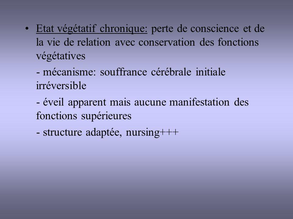 Etat végétatif chronique: perte de conscience et de la vie de relation avec conservation des fonctions végétatives