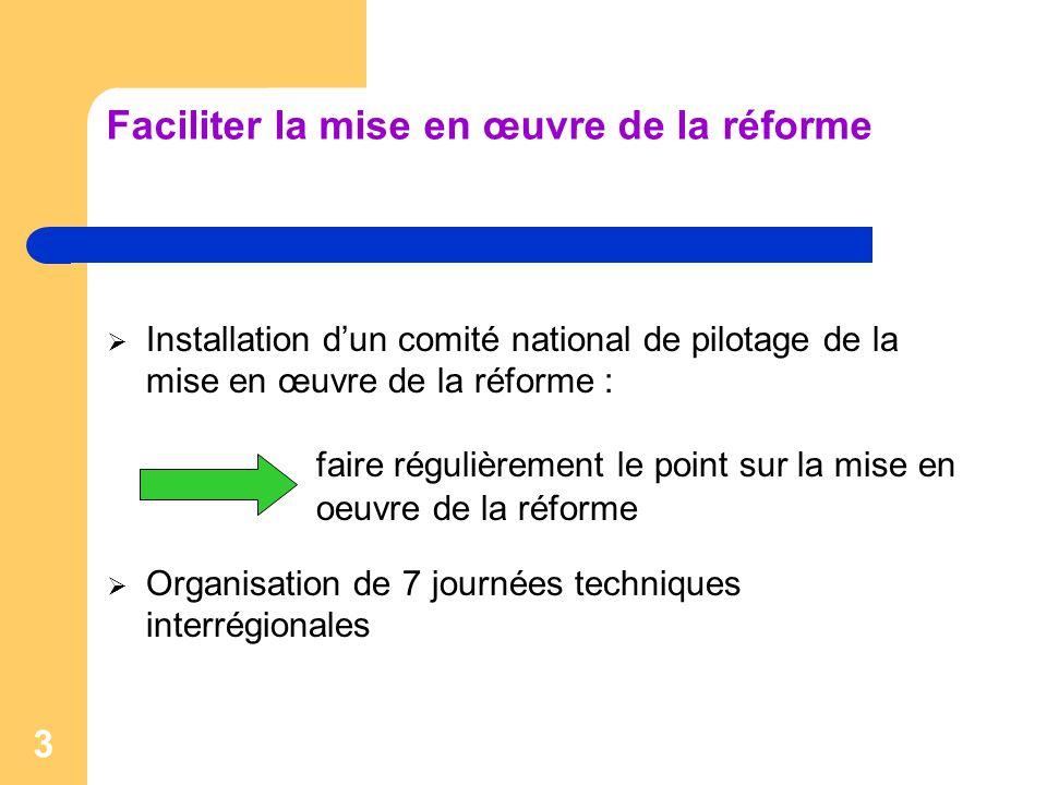 Faciliter la mise en œuvre de la réforme
