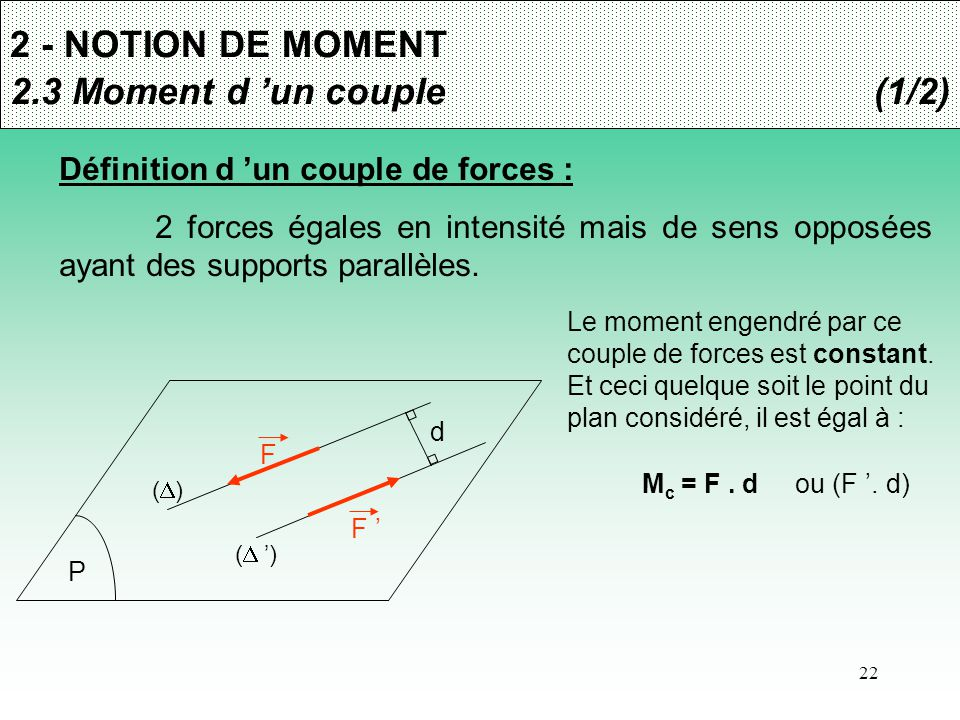 2 - NOTION DE MOMENT 2.3 Moment d 'un couple (1/2)