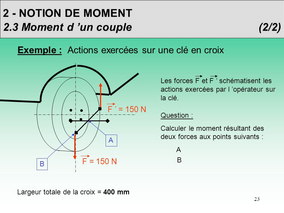 2 - NOTION DE MOMENT 2.3 Moment d 'un couple (2/2)