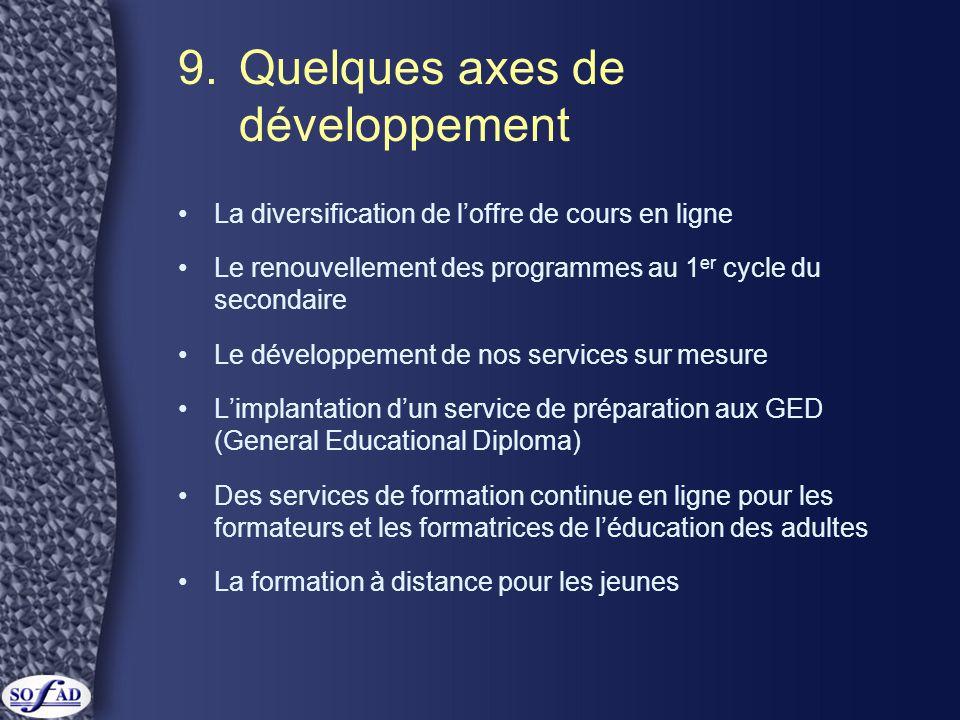 9. Quelques axes de développement