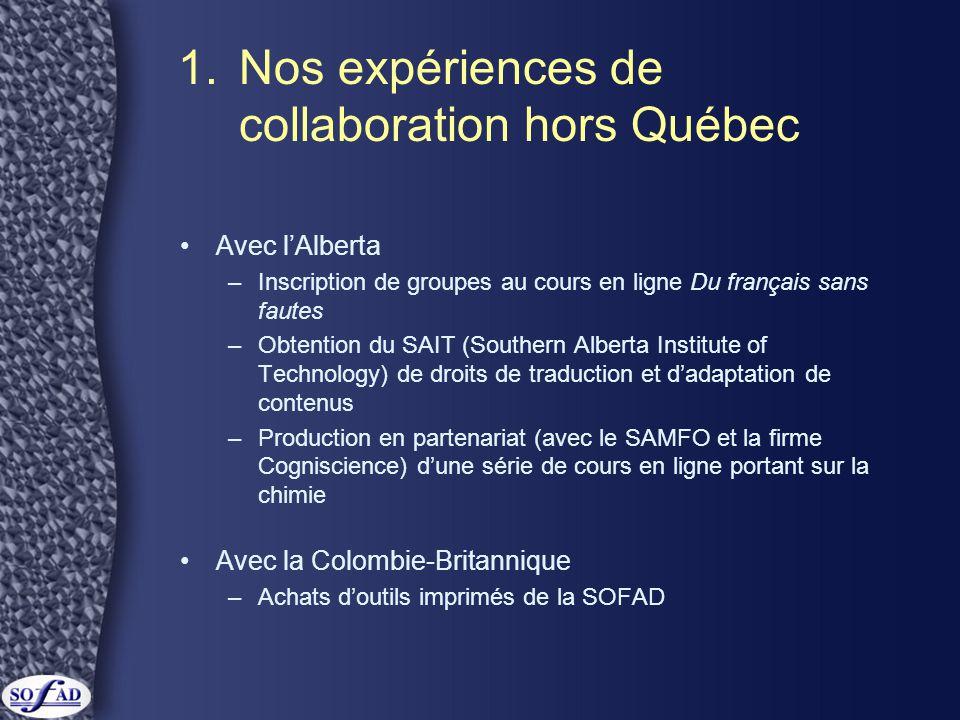 1. Nos expériences de collaboration hors Québec