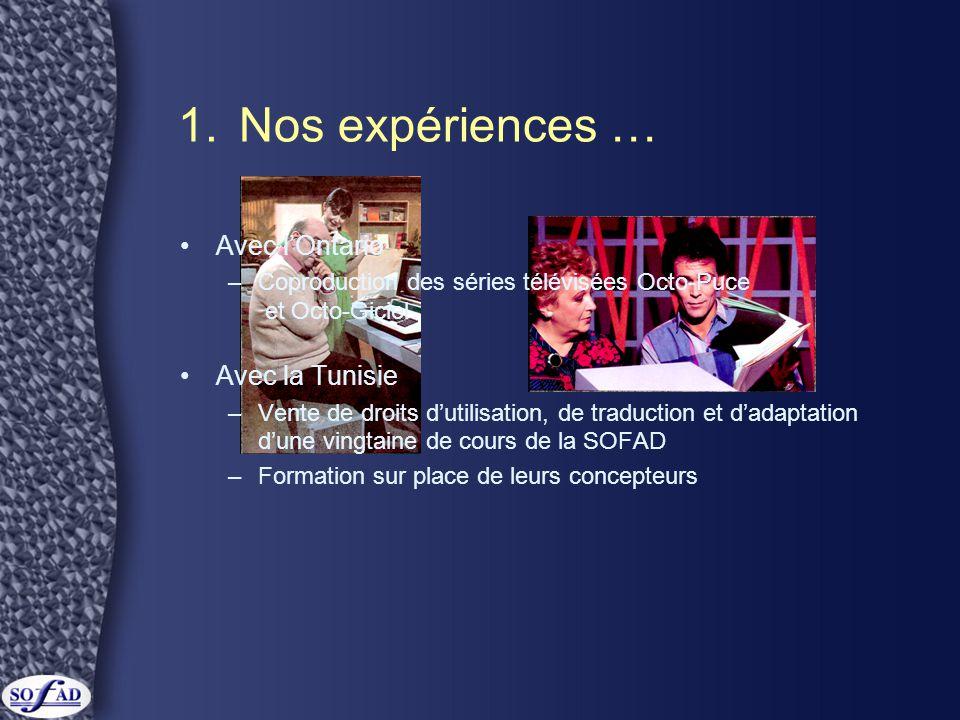 1. Nos expériences … Avec l'Ontario Avec la Tunisie