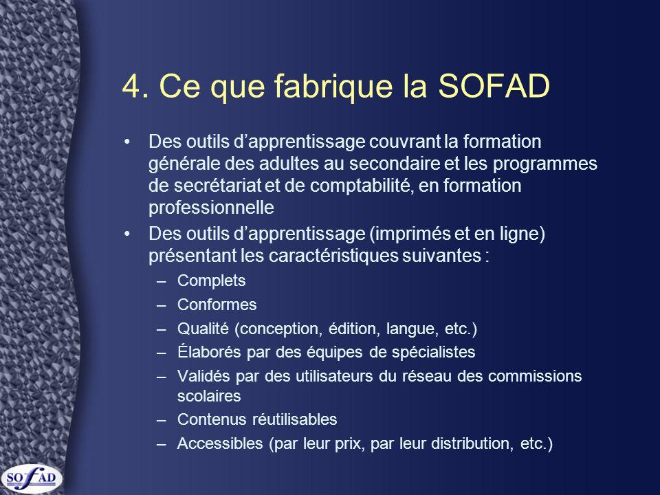 4. Ce que fabrique la SOFAD