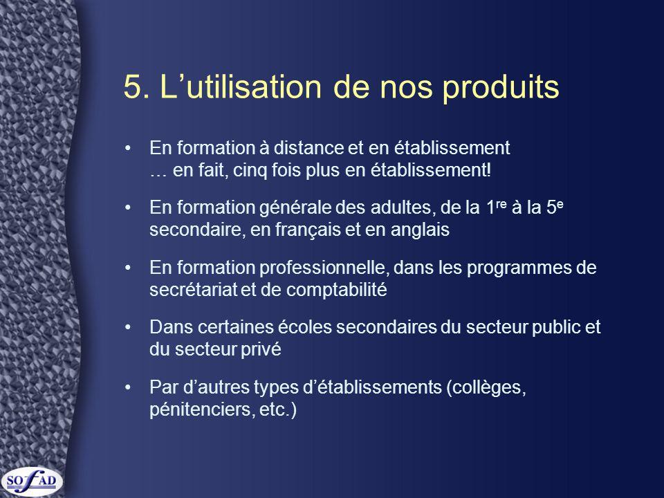 5. L'utilisation de nos produits