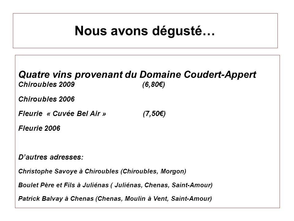 Nous avons dégusté… Quatre vins provenant du Domaine Coudert-Appert